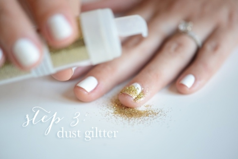 Picture Of simple and pretty diy glittery gold and white manicure  5