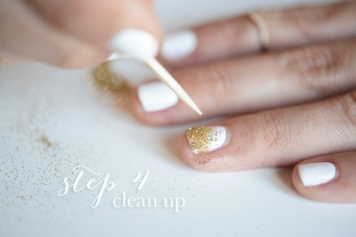 Simple And Pretty DIY Glittery Gold And White Manicure