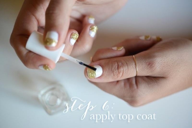 Picture Of simple and pretty diy glittery gold and white manicure  8