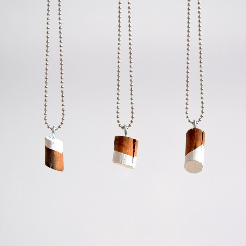 Picture Of simple diy painted wood knot necklace  2