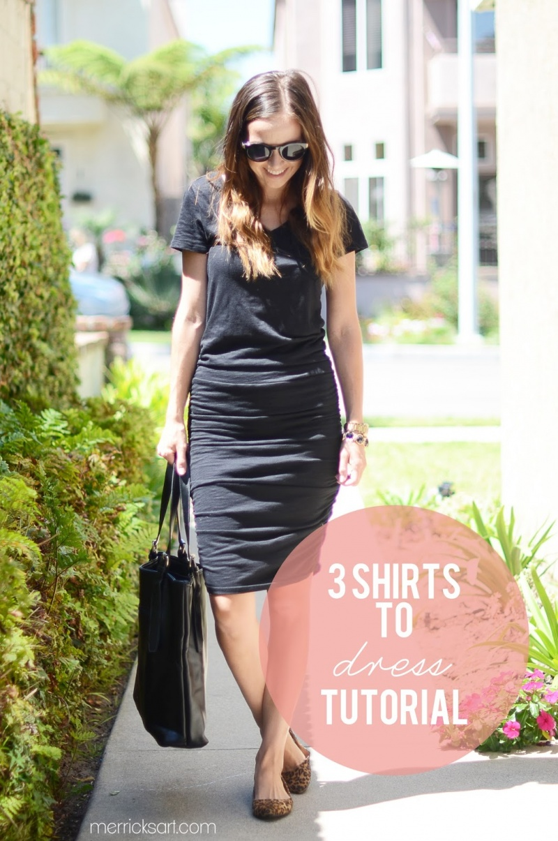 Picture Of simple shirt to dress refashion  6