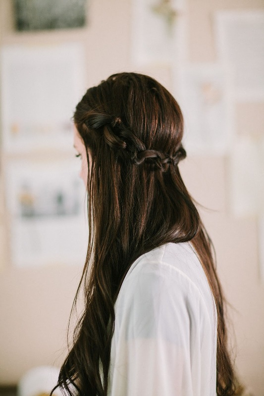 Picture Of simple yet fancy diy knotted crown hairstyle  1