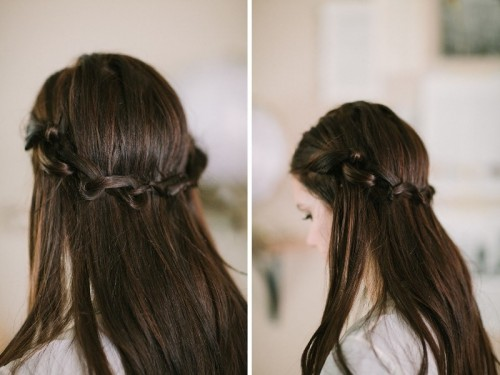 Simple Yet Fancy DIY Knotted Crown Hairstyle