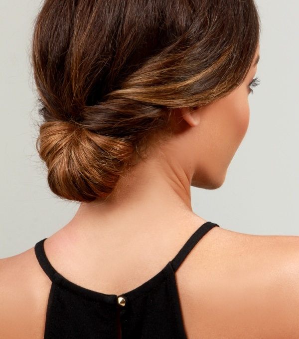 Picture Of simple yet pretty diy day to night chignon hairstyle  1