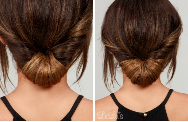 Picture Of simple yet pretty diy day to night chignon hairstyle  2