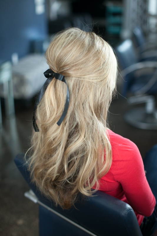 Picture Of soft and lovely diy half up hairstyle with a bow  1