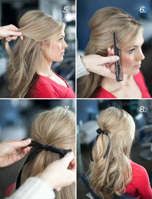 Picture Of soft and lovely diy half up hairstyle with a bow  3