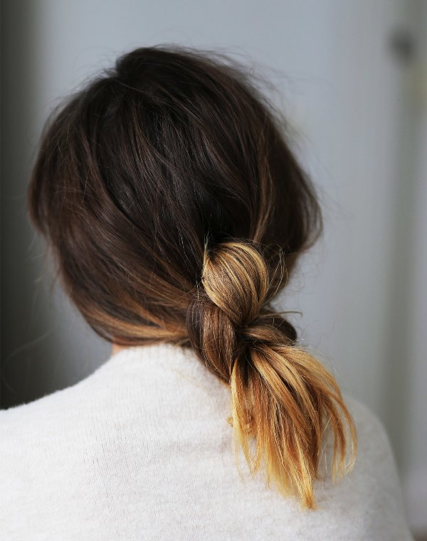 Picture Of sophisticated and casual diy hair knot to make in 5 minutes  1
