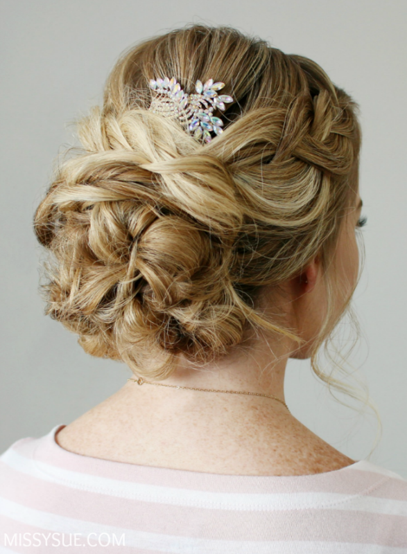 Picture Of sophisticated diy braid embellished updo  1