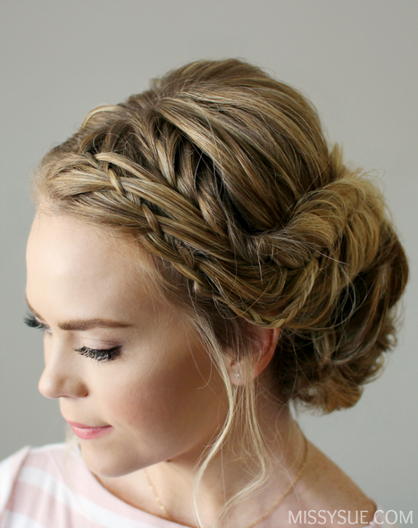 Picture Of sophisticated diy braid embellished updo  2