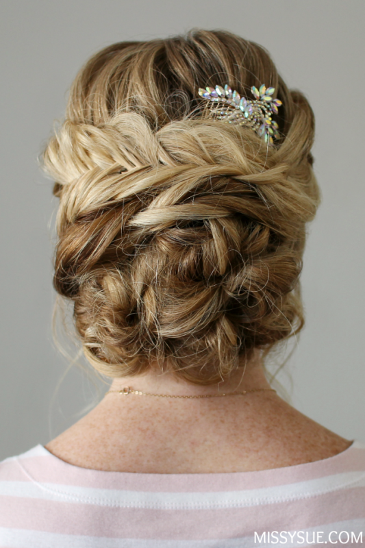 Picture Of sophisticated diy braid embellished updo  3