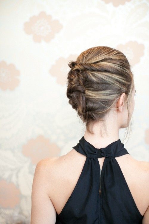 Sophisticated DIY Textured French Twist For Short Hair