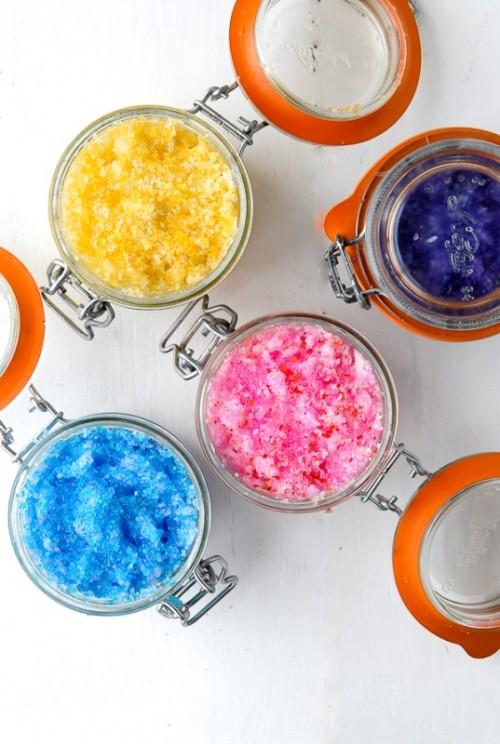Sparkling DIY Flower Scented Sugar Scrubs