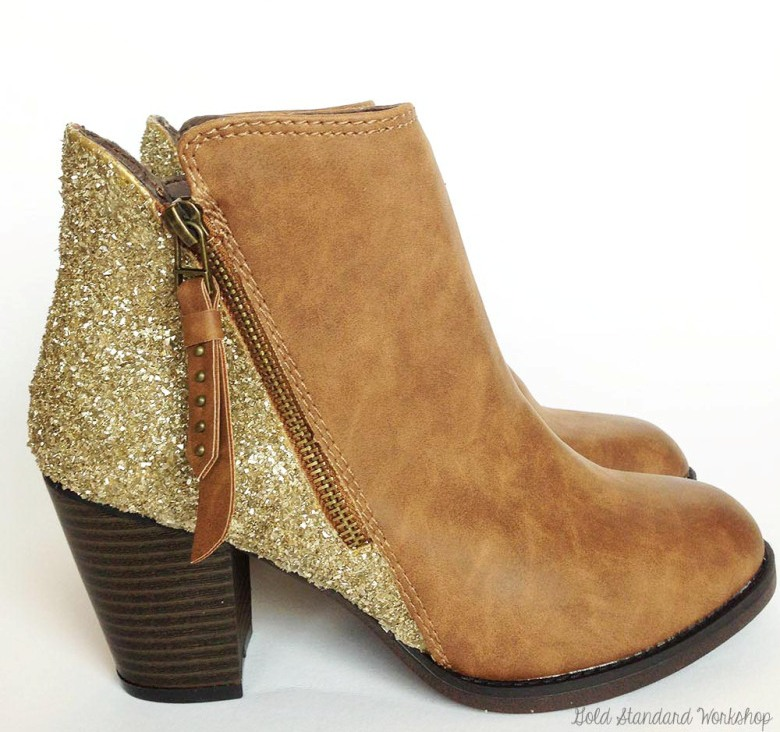 Picture Of sparkling fall idea diy glitter boots  1