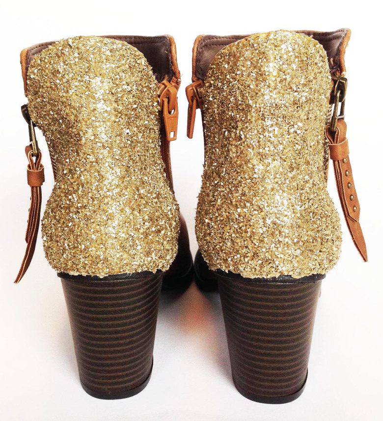 Picture Of sparkling fall idea diy glitter boots  6