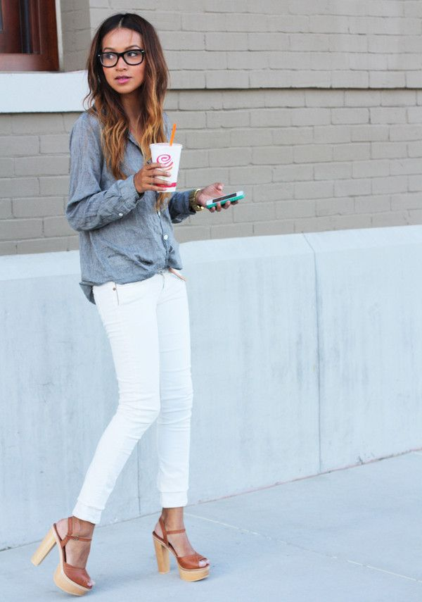 White jeans outfit ideas memes for White pants denim shirt