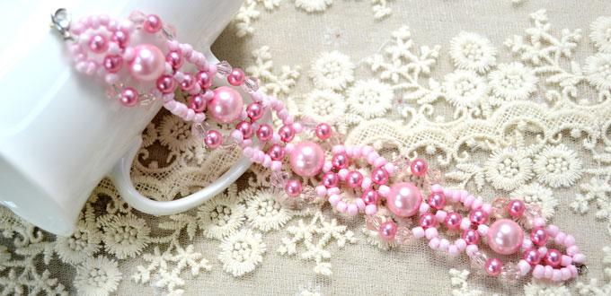 Picture Of spring inspired diy pink beads and pearls bracelet  1