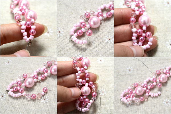 Picture Of spring inspired diy pink beads and pearls bracelet  5