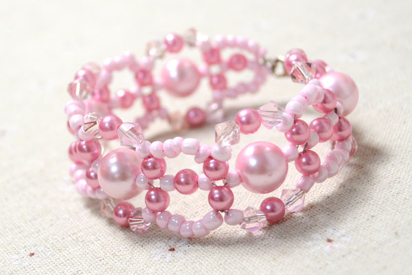 Picture Of spring inspired diy pink beads and pearls bracelet  6