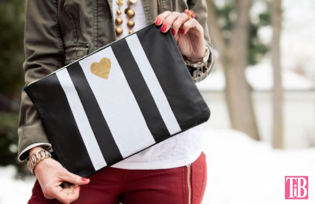Picture Of striped diy leather clutch with a heart pattern  1