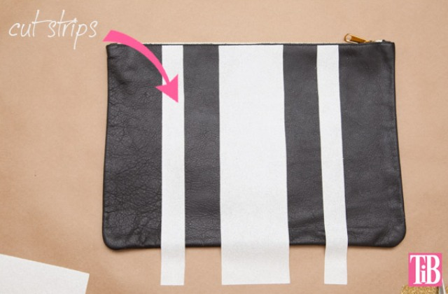 Picture Of striped diy leather clutch with a heart pattern  2