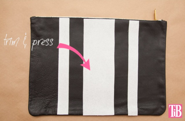 Picture Of striped diy leather clutch with a heart pattern  5