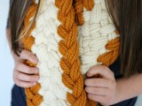 chunky braided fall scarf