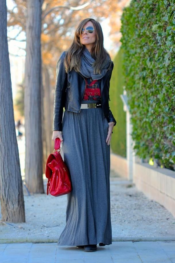 Picture Of stylish and comfy winter maxi skirt outfits  12