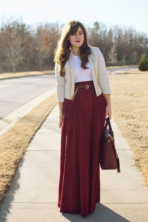 Picture Of stylish and comfy winter maxi skirt outfits  14