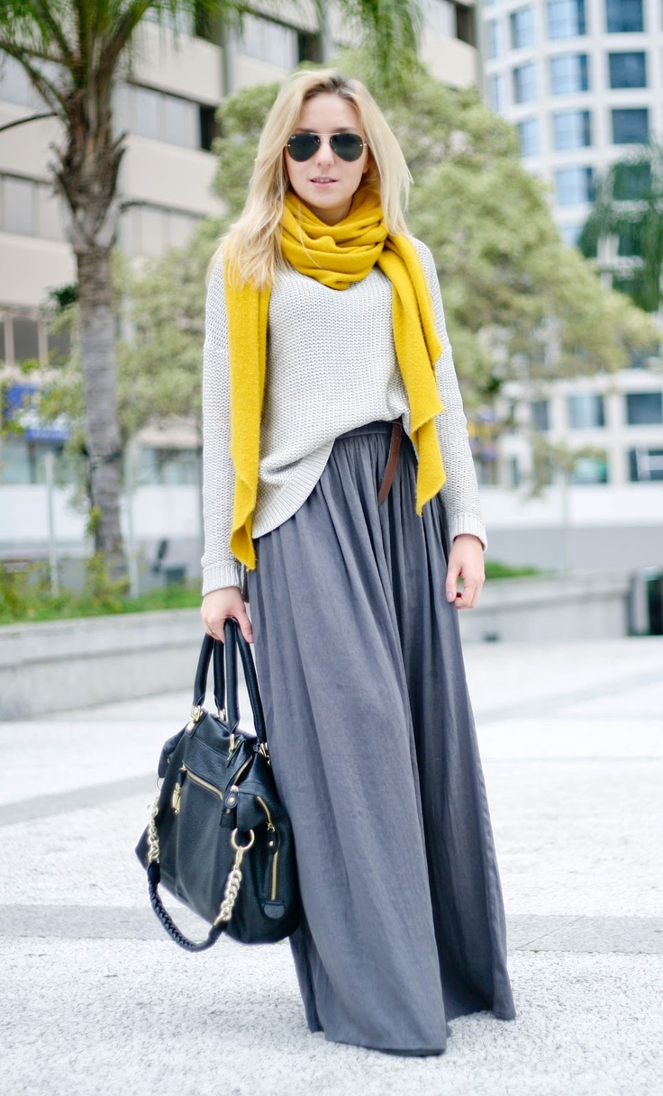 Picture Of stylish and comfy winter maxi skirt outfits  17