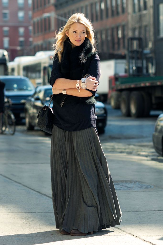 Picture Of stylish and comfy winter maxi skirt outfits  18