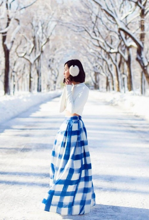 Stylish And Comfy Winter Maxi Skirt Outfits