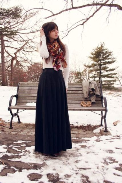 Picture Of stylish and comfy winter maxi skirt outfits  21