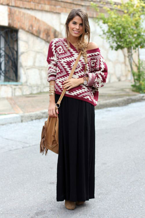 3e05ea2fb969 26 Stylish And Comfy Winter Maxi Skirt Outfits - Styleoholic