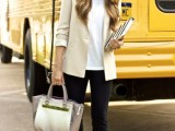 black pants, a white tee, a tan blazer, leopard flats and a neutral bag for a simple and stylish look