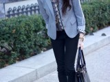 a printed button down, black skinnies, black flats, a black bag and a grey blazer