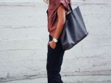a minimalist look with black pants, a dusty pink button down, blush spiked flats and a black tote