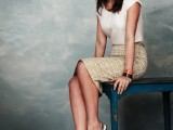 a neutral top, a printed pencil skirt, metallic slingback flats for an effortlessly chic work look
