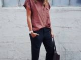 a simple and clean look with black pants, a dusty pink button down with no sleeves, blush spiked flats and a black tote