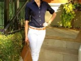 a simple and casual look with white skinnies, a navy button down, a brown bag and flats plus a belt