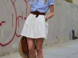a simple summer look with a creamy mini, a striped blue button down, a brown bag and red flats