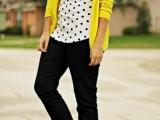 black skinnies, a polka dot top, a bright yellow cardigan, bright green flats and a matching necklace