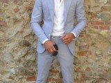 a powder blue suit, a white shirt, grey moccasins for a business casual work look