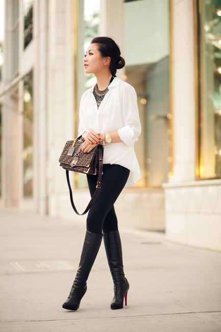 Picture Of stylish and sexy work looks with high boots  8