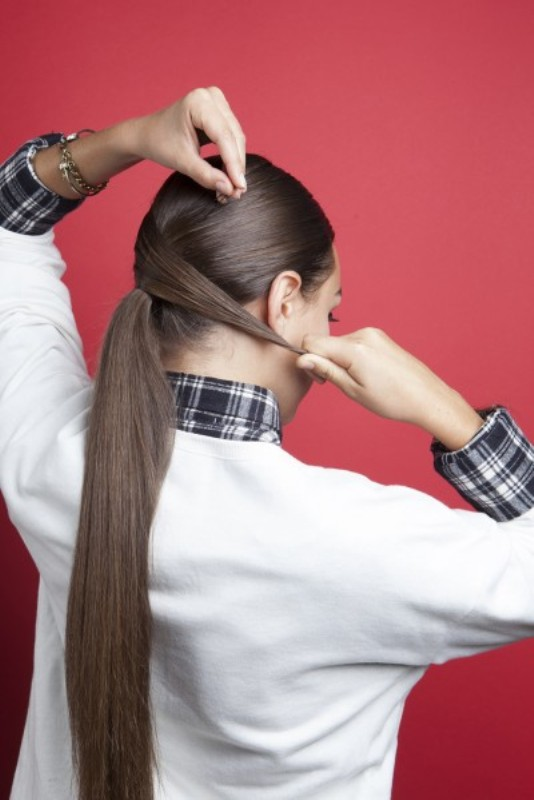 Picture Of stylish and smooth diy low ponytail hairstyle  4