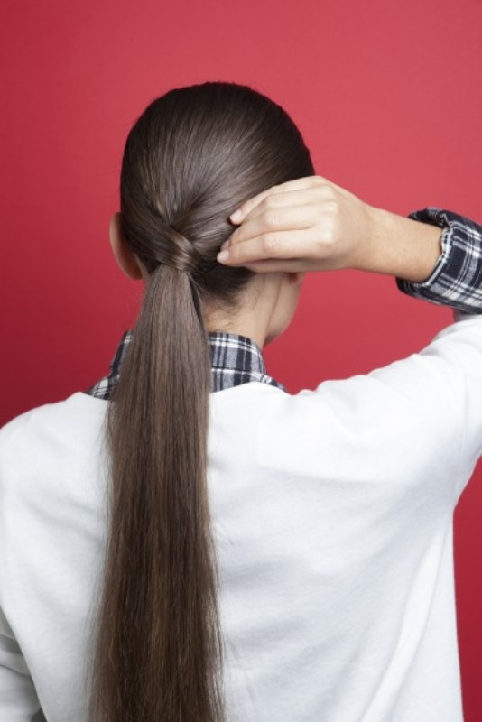 Picture Of stylish and smooth diy low ponytail hairstyle  5