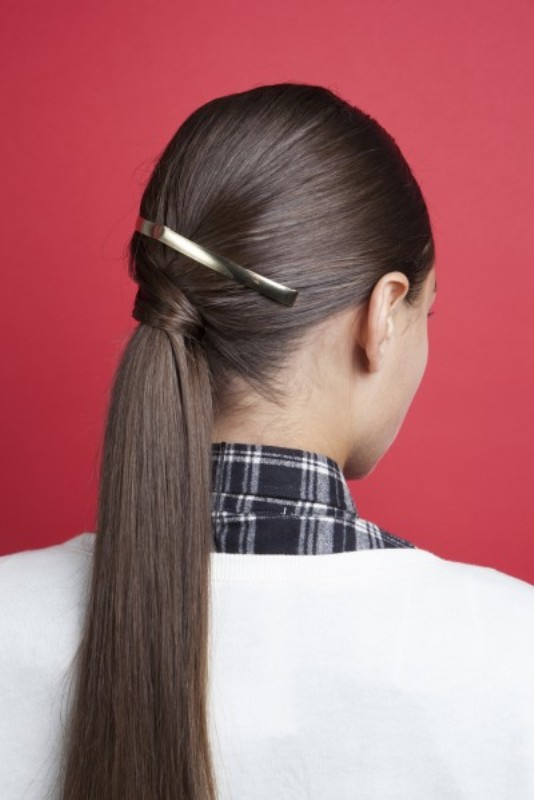 Picture Of stylish and smooth diy low ponytail hairstyle  6