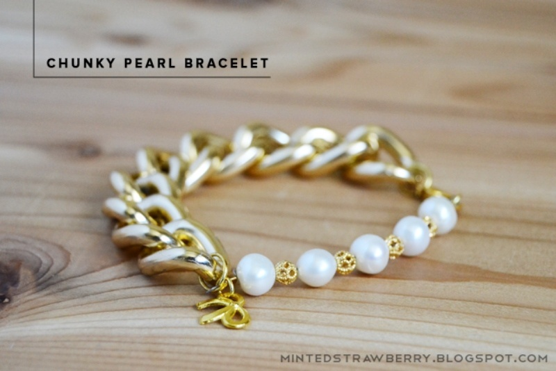 Picture Of stylish diy chunky pearl bracelet for nights out  1