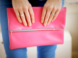 bright leather foldover clutch