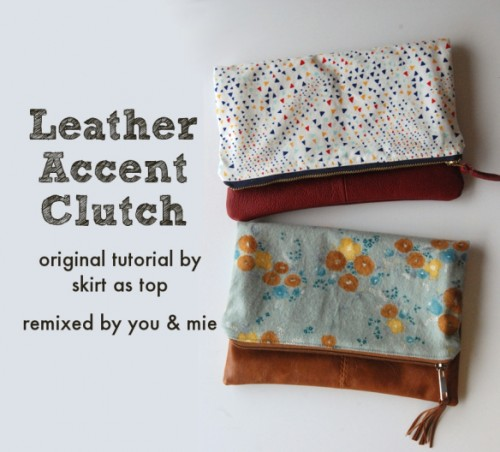 leather accent clutch